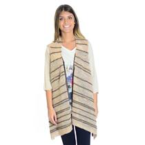 Sz S Anthropologie Moth Brown/Taupe Striped Sleeveless Draped Front Cardigan