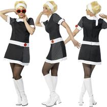 60's Mod Chic Black and White Adult Costume Dress Headband Glasses Size Medium
