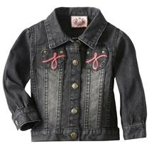 6-12m NWT Juicy Couture Baby Heart Pocket Denim Jacket w/Pink Embroidery Black