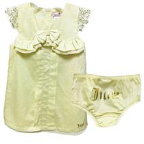 18-24m NWT Juicy Couture Baby 2pc Dress Set Lemon Lily Yellow Ruffle Lace Trim