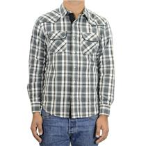S NWT LEVIS Commerce Long-Sleeve Poplin Gray Plaid Button Front Western Shirt