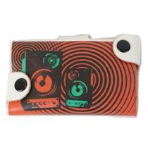 NWT Neves Red Music Stereo Circles Pattern Snap Card Wallet Leather Red/White