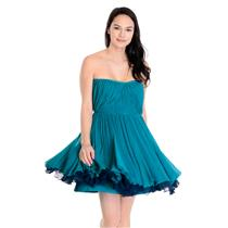Sz 4/6 Vera Wang Lavender Label Turquoise Crinkle Silk Chiffon Strapless Dress