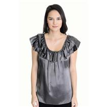 S Seven 7 For All Mankind Silver/ Charcoal Gray 100% Silk Flutter Sleeve Blouse