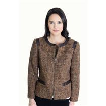 Sz 4 Jones New York Zipper Front Boucle' Tweed Jacket Tan Brown Grosgrain Trim