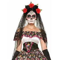 Adult Day of the Dead Black Veil Headband with Flowers