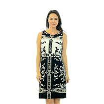 6 NWT Donna Morgan Black/White Printed Sleeveless Jersey Overlay Dress D2230M