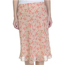 Sz 4P Ann Taylor Petites Pink Floral Print 100% Silk Lined A-Line Side Zip Skirt