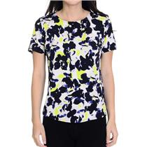 S Anne Klein Black/White/Green Floral Print Short Sleeve Exposed Zipper Blouse