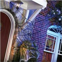5' Black Elastic Holographic Tinsel Spider Web Halloween Decoration