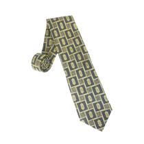 "4"" Wide Enrico Venturi Gray/Gold Square Emblem Print Italian 100 Silk Neck Tie"