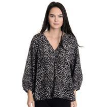S NWT Joie Gray Black Cream Printed 100% Silk 3/4 Sleeve Blouse E88-23562