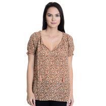 Sz S Joie Masha Pineapple Print Short Sleeve Blouse w/Tassel Silk J123-20366