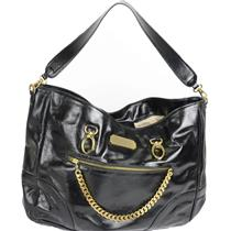 "100% Authentic $720 CC SKYE ""Skye"" handbag Bag purse black leather gold chains"