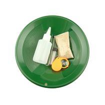 """Gold Rush Mining Kit"" Real PayDirt-Green Gold Pan-Vial-Snuffer-Tweezers-Loupe"
