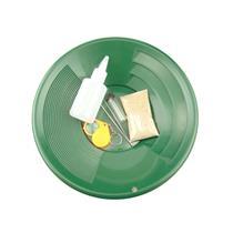 """Gold Rush Mining Kit"" Real PayDirt-12"" Green Gold Pan-Vial-Snuffer-Tweez-Loupe"