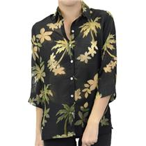 S NWT Banana Bay Black Tropical Floral Burn Out Sheer Button Front Palm Blouse