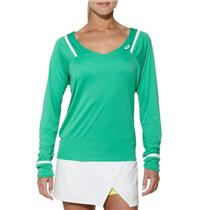 NWT! Sz M Asics Mint Green Women's Athlete Long Sleeve Tennis Top w/ V-Neck
