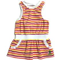 6-12m Juicy Couture Baby Striped Terry Sleeveless Swimsuit Cover-up Dress Pocket