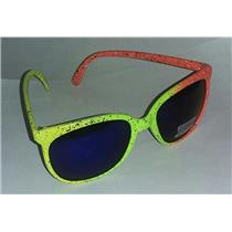 80's Style Trendy Neon Yellow Orange Paint Splatter Sunglasses