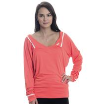 NWT S Asics Coralicious Orange Women's Athlete Long Sleeve Tennis Top w/ V-Neck