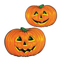 "25"" Jack O Lantern Pumpkin Faces Cutouts Halloween Party Decoration 2pk"