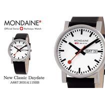 Mondaine Swiss Railways Watch A667.30314.11SBB Classic Day/Date.New/Box/Warranty