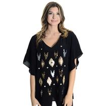 XS NEW Fifteen-Twenty Black Silk Metallic Sequin Ikat Boxy Flutter Sleeve Top