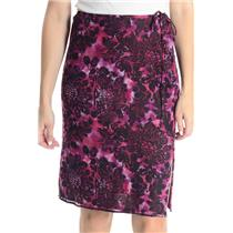 NWT 4 Laundry Shelli Segal Pink Black Floral Print Sequin Drawstring Waist Skirt
