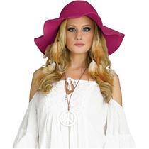 60s 70s Hippie Womens Summertime Red Raspberry Burgundy Felt Floppy Costume Hat