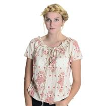 M Patagonia 100% Organic Cotton Cream Floral Short Sleeve Gathered Neck Blouse