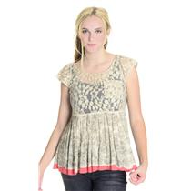 Sz S FREE PEOPLE Cap Sleeve Beige Lace SOFT Rayon Printed Pleated Peplum Top