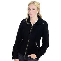 Sz 8 NWT Illia Black Suede Fringe Zip Pocket Front Jacket Collared Epaulettes