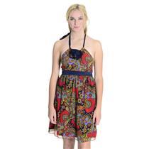 4 NWT Authentic Betsey Johnson Floral Paisley Print Silk Halter Tie Dress Ruffle