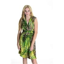 8 NWT Joseph Ribkoff Green Leopard Print Sleeveless Tie Waist Belt Dress 19739