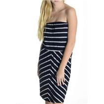 One Size Michael Stars Black & White Striped Strapless Cotton Blend Dress 2947