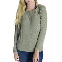 S Anthropologie Bordeaux Lime/Light Gray & Green Striped SOFT Modal Top USA MADE