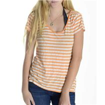One Size Michael Stars Orange & White Striped V Neck Cotton Modal Shirt 2938