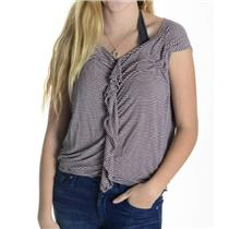 M Ella Moss Pink & Navy Thin Striped Short Sleeve 1000% Rayon Top ETT410119