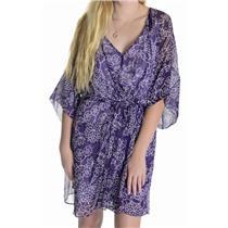 Sz 8 Diane Von Furstenberg Iniko Purple & White Floral Print 100% Silk Dress