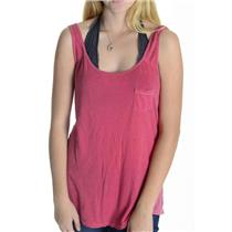 One Size Michael Stars Pink/Red Vintage Wash SOFT Supima Cotton Tank Top 8460