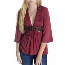 S Sky Brick Red Soft Jersey Knit V-Neck Blouse W/ Brown Stud Accent Belted Waist