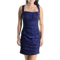 6 Jessica McClintock Violet/Black Taffeta Sweetheart Neck Ruched Cutout Dress