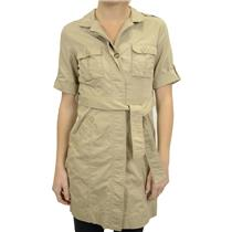 S/P Michael Kors Tan Button Front Rolled Sleeve Khaki Belted Trench Coat/Dress