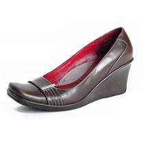 8 Kenneth Cole Reaction Wedge Pump Brown Leather Square Toe Silver Buckle Strap