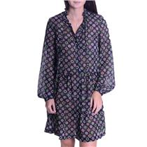 2 French Connection Navy Button Front Long Sleeve Sheer Multi Floral Print Dress