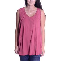 S We The Free Free People Worn Red Raw Edge Sleeveless Loose Fit Top 100% Cotton