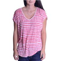 S We The Free Free People Coral & Cream Striped V Neck Cap Sleeve Top Hi-Lo Hem