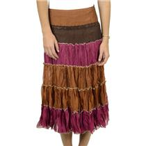 S NWT Authentic Tiered Crinkle Skirt Avenue Montaigne Fuschia Brown Pink Orange