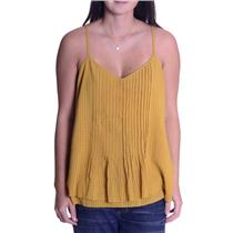 NWT S Sanctuary Mustard Yellow Spaghetti Strap Top w/Pleated Design B05070-WS182